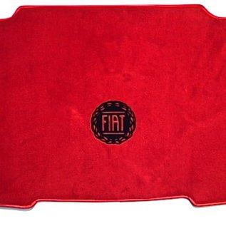 Fiat 124 Spider - front mounted battery Trunk mat velours red - logo black + semi-leather