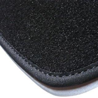 Fiat 124 Spider - front mounted battery Trunk mat velours black - logo dark grey + nubuck