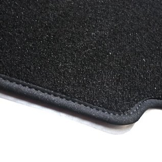Fiat 124 Spider - rear mounted battery Trunk mat velours black - logo dark grey + nubuck