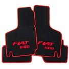 Floor mat set velours black-red Fiat 600 script + trim Fiat 600 D