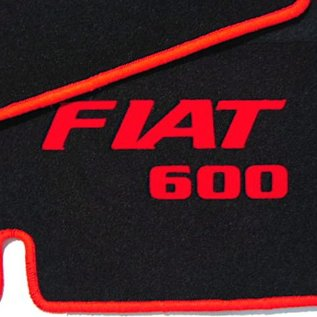 Fiat 600 D Floor mat set velours black-red Fiat 600 script + trim