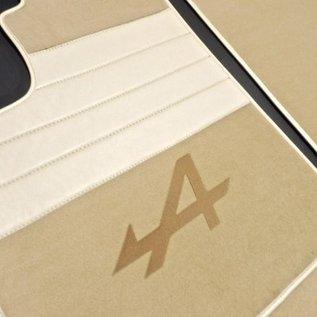 Renault Alpine A310 Floor mat set premium velours cream - tan logo + tan semi-leather trimming