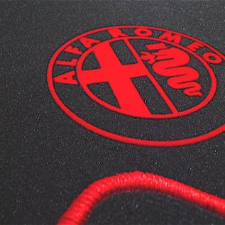 Alfa Romeo Giulietta 2010-2017 Floor mat set velours dark grey - red logo + trim