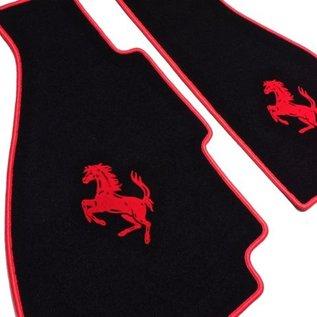 Ferrari 308 GTB Floor mat setveloursblack - red horse + trim