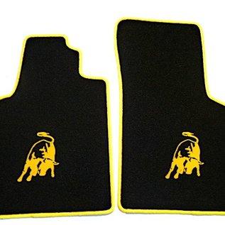 Lamborghini Gallardo Manual 2003-2007 Floor mat set velours black - yellow