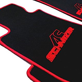 BMW E21 Sedan 3-series 1975-1982 Floor mat set velours black-red ACS logo + trim