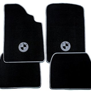 BMW E30 3-series Sedan 1982-1991 Floor mat set velours black-grey logo + trim