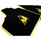 Floor mat set velours black - yellow Lamborghini Gallardo E-gear 2003-2011
