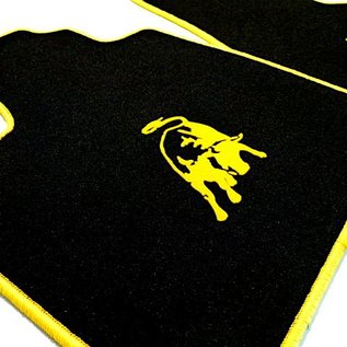 Lamborghini Gallardo E-gear 2003-2011  Floor mat set velours black - yellow