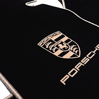 Porsche 924 Floor mat set velours black - tan