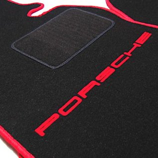 Porsche 924 Floor mat set black - red script + trim