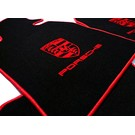 Floor mat set velours black - red Porsche 924