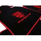 Tapis de sol velours noir - rouge Porsche 924