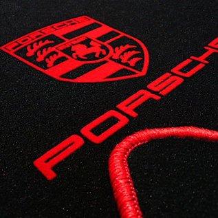 Porsche 924 Floor mat set velours black - red