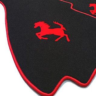Ferrari 328 GTS Floor mat setveloursblack - red horse + trim