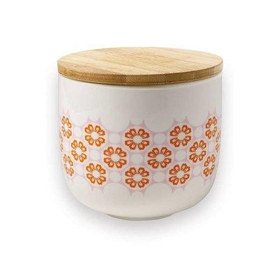 Porseleinen voorraadpot met bamboe deksel - oranje bloemen