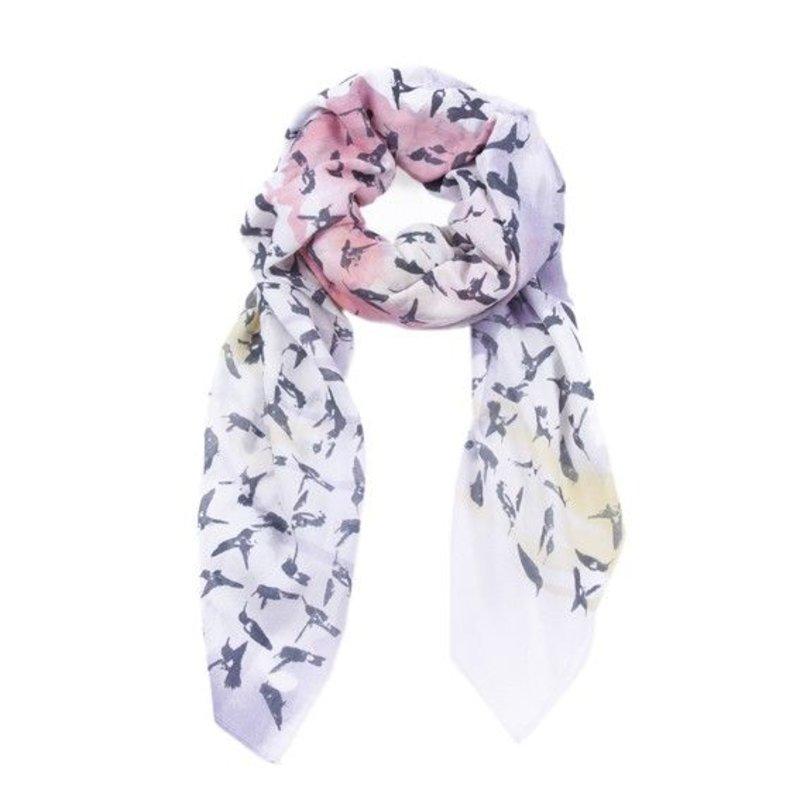Sjaal Hummingbird - wit/roze/grijs/geel