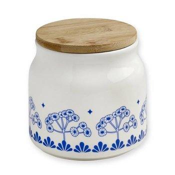 Mr & Mrs Clynk Porseleinen voorraadpot met blauw retro bloem motief