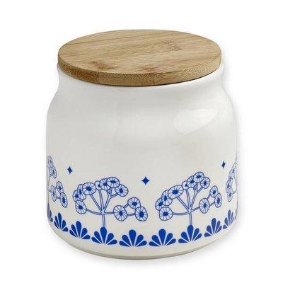 Porseleinen voorraadpot met blauw retro bloem motief