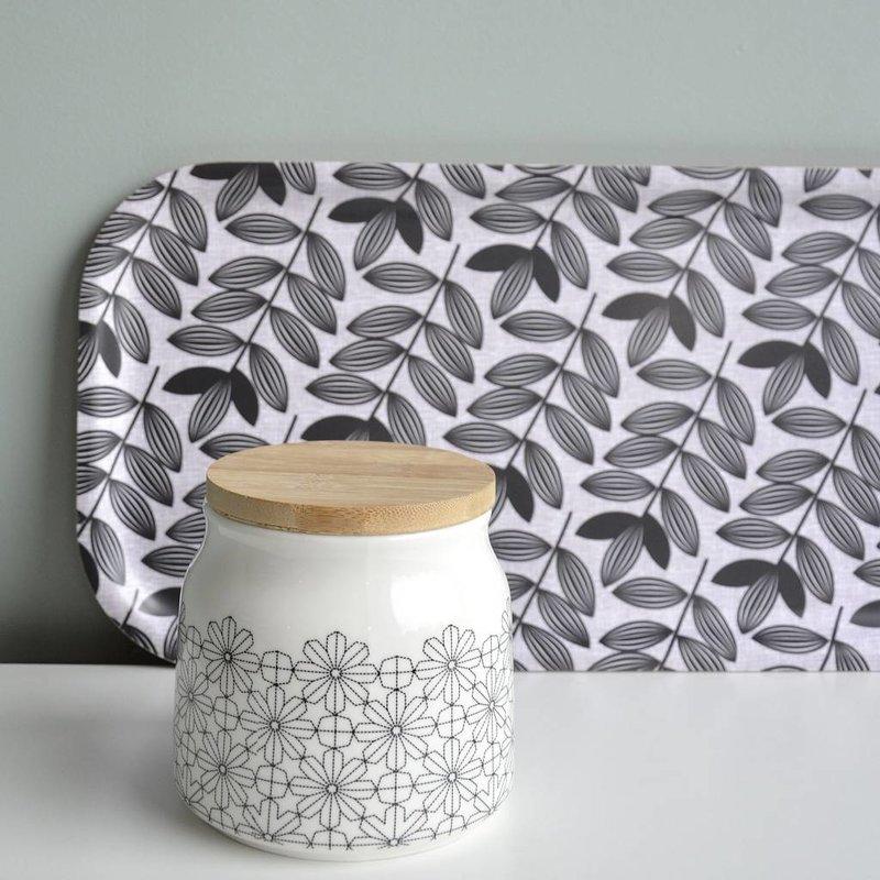 Porseleinen voorraadpot met zwart retro bloem motief