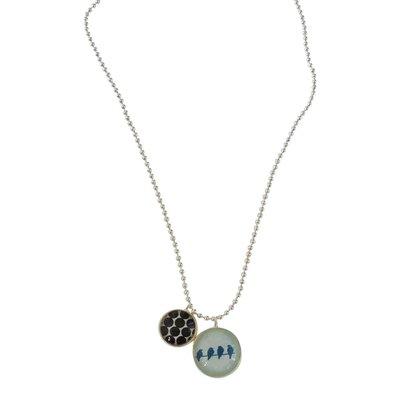 Ketting met twee bedels - blauw met vogeltjes & zwarte cirkels