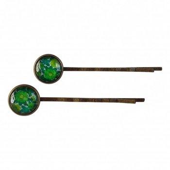 Skinnar Malin Set van twee haarspeldjes met groen retro bloemen motief