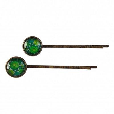 Set van twee haarspeldjes met groen retro bloemen motief