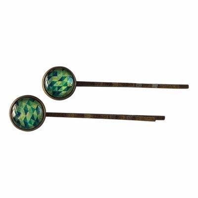 Set van twee haarspeldjes met groen-blauw geometrisch motief