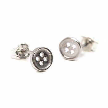 One & Eight Zilveren knoopjes oorbellen