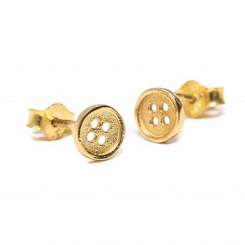 One & Eight Gouden knoopjes oorbellen