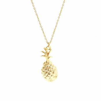 One & Eight Gouden ketting met gouden ananas