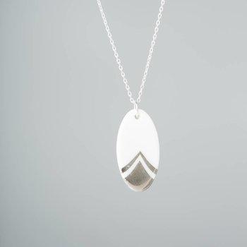 One & Eight Zilveren ketting met ovale porseleinen hanger - zilver