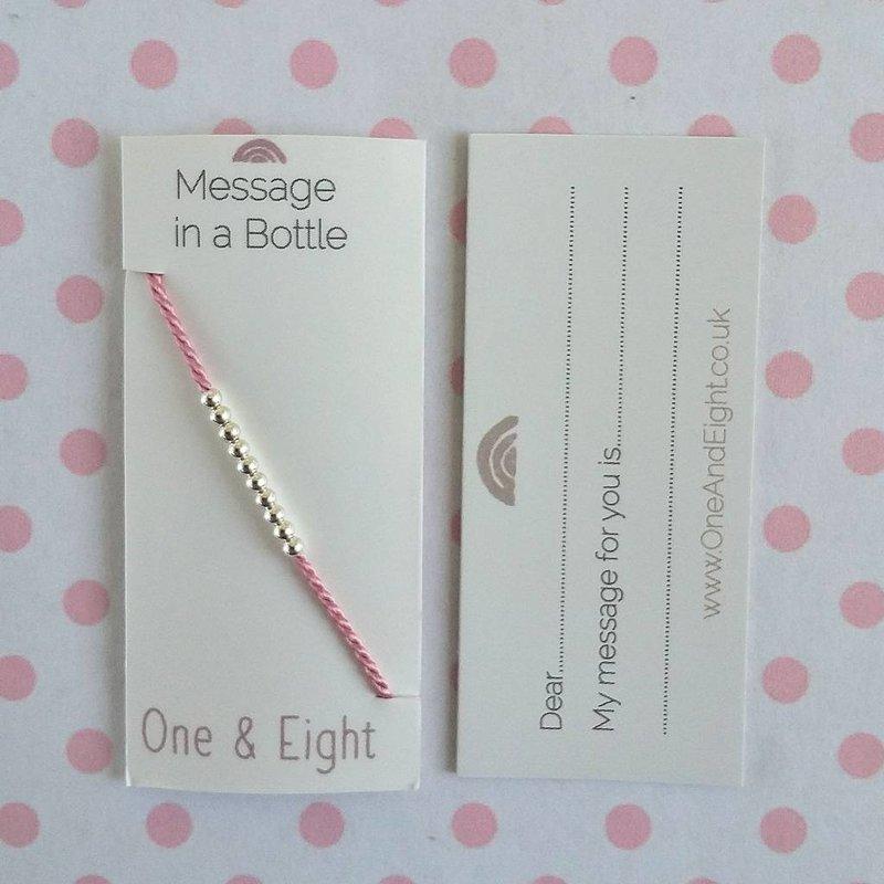 Zilveren Friendship Bracelet - roze zijden koortje