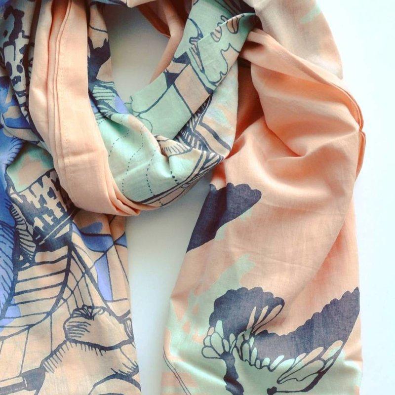 Sjaal CPH - perzik/grijs/lavendel