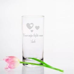 Vase Vienna en verre avec texte