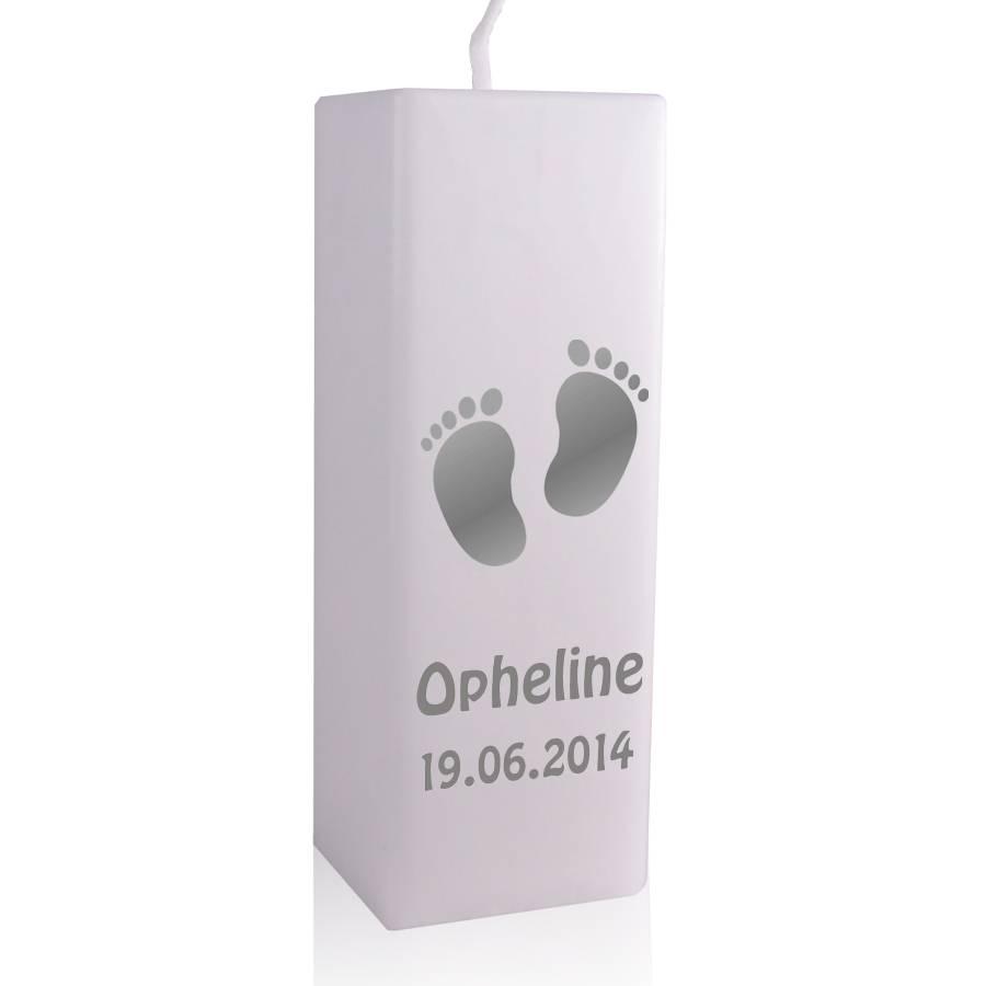 bougie naissance petits pieds avec texte brianto cadeaux. Black Bedroom Furniture Sets. Home Design Ideas