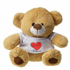 Knuffelbeer Tessa met gepersonaliseerd t-shirt