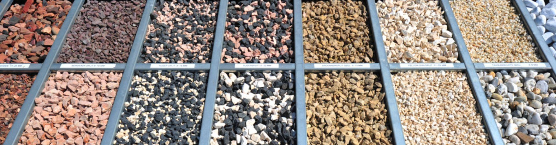Alle soorten, maten en kleuren siergrind en siersplit leverbaar.