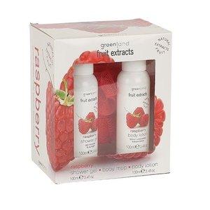 Fruit Extracts, kleines Geschenkset, Duschgel, Körperlotion, Körperschwamm, Himbeer,  2 x 100 ml