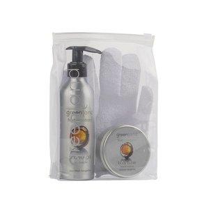 Fruit Emotions, Geschenkset: Peelinghandschuh, Duschgel 200 ml & Körperbutter 100 ml, Kokosnuss-Mandarine