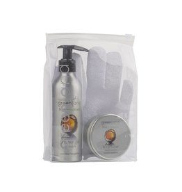 Fruit Emotions, giftset: scrub glove, shower gel, body butter, coconut - tangerine