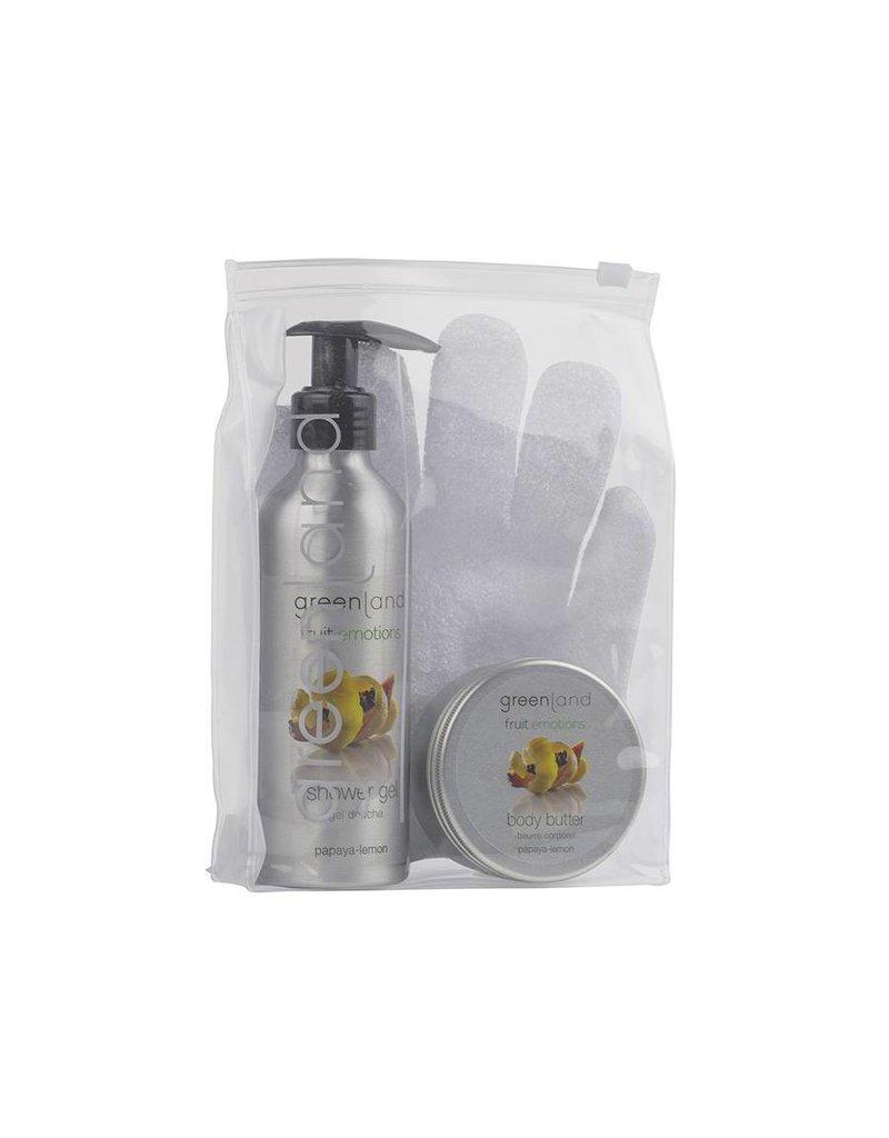Fruit Emotions, giftset: scrub glove, shower gel, body butter, papaya - lemon