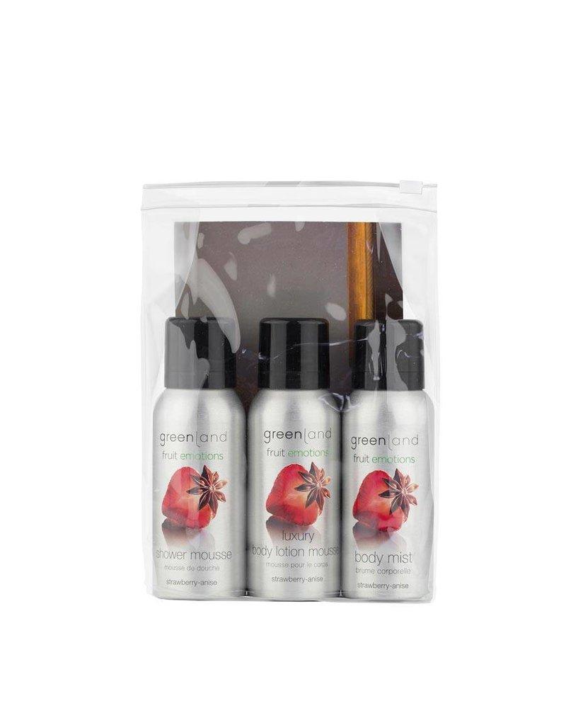Fruit Emotions, reisset: shower mousse, body lotion mousse, body mist,  aardbei-anijs