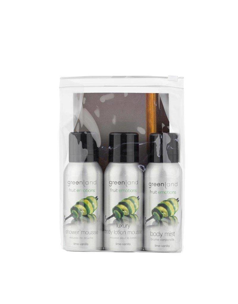 Fruit Emotions, travel set: shower mousse, body lotion mousse, body mist,  lime-vanilla