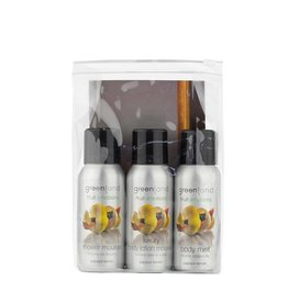 Fruit Emotions, reisset: shower mousse, body lotion mousse, body mist,  papaja-citroen