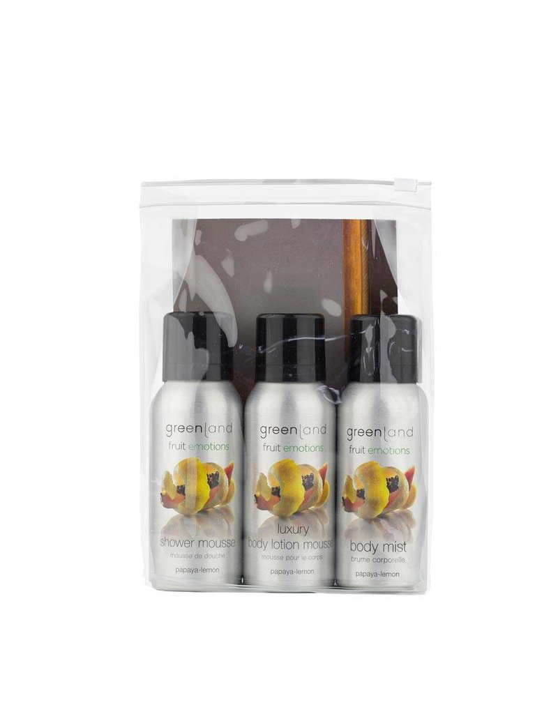 Fruit Emotions, travel set: shower mousse, body lotion mousse, body mist,  Papaya-Zitrone
