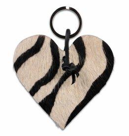 Van Buren Koeienhuid sleutelhanger - Zebra - Hartje