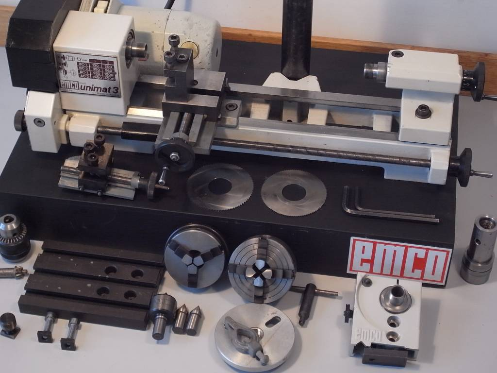 Emco Unimat 3 Lathe with Milling Attachment and Accessories