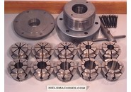 Crawford manual key operated hydraulic collet chuck with wide range multibore collets set