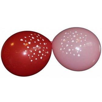 Ballon rood/rose met hartjes 8 stuks